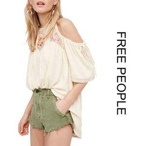 NWOT [free people] Cold Shoulder Hi-Lo Top Large